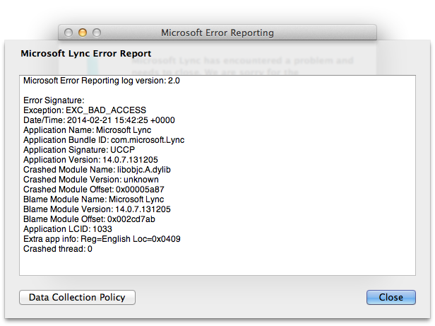 Lync crash report