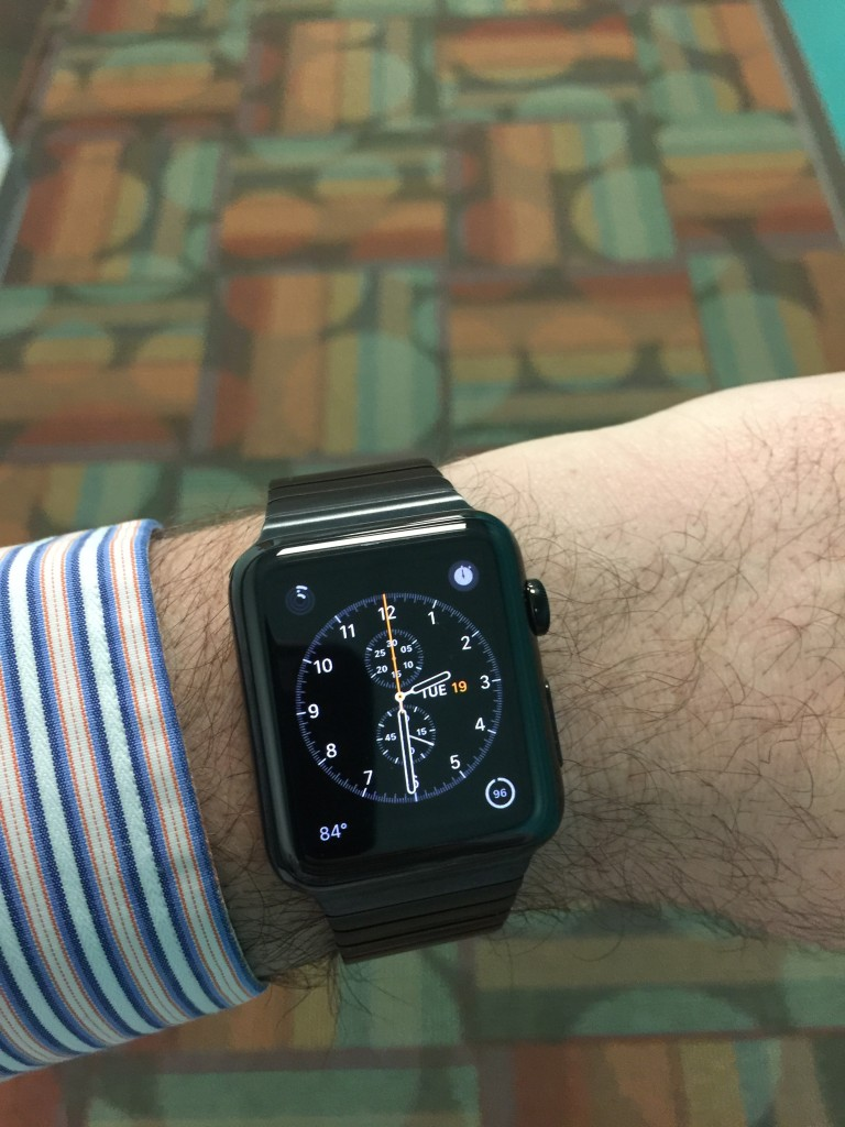 "Watch with our ""beautiful"" work carpet in the background."