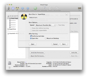 Disk utility's Burn interface