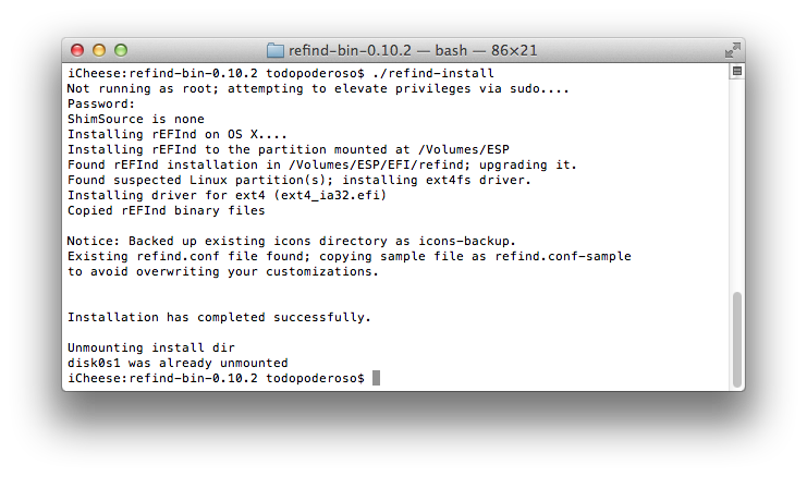 Installing rEFInd on OS X Lion