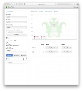 Octoprint is running at http://192.168.76.133:5000 on my home network. You address may vary.